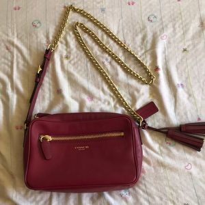 Dark Red with Gold Chain Purse by Coach
